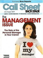 CALL SHEET BY BACK STAGE magazine